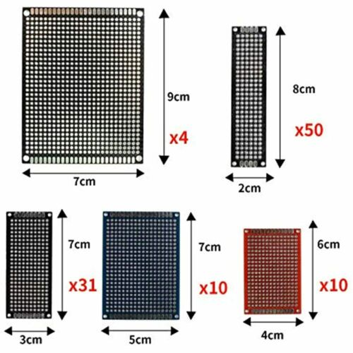 105 Pcs Double Sided PCB Board Prototype Kit Soldering Sizes Black Red Blue 3