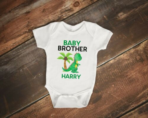 Personalised Big Brother little brother Baby Dino Dinosaur t shirt tshirt top