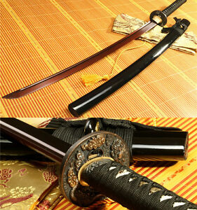 41' RED FOLDED STEEL BLADE DRAGON TSUBA JAPANESE SAMURAI SWORD KATANA FULL TANG