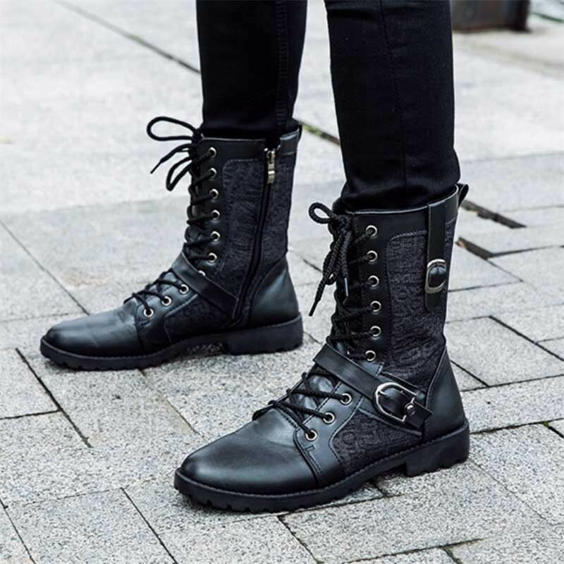 Men's Motorcycle Knight Oxford Leather Martin Boot Tactical Army Military shoes
