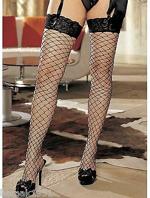 White Fence Net Fishnet Thigh High Stockings Lace Band On Top Plus Size X90062