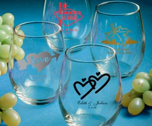 80 Personalized 9 Oz. Stemless Wine Glass Wedding Party Event Favors For Guests