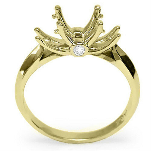 18k Solid Yellow gold Diamond Engagement Setting Ring 4 to 9.5  R1103