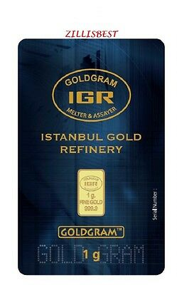 2 X 1 G Gram 999.9 24K Istanbul Gold Refinery Bar IGR With Certificate