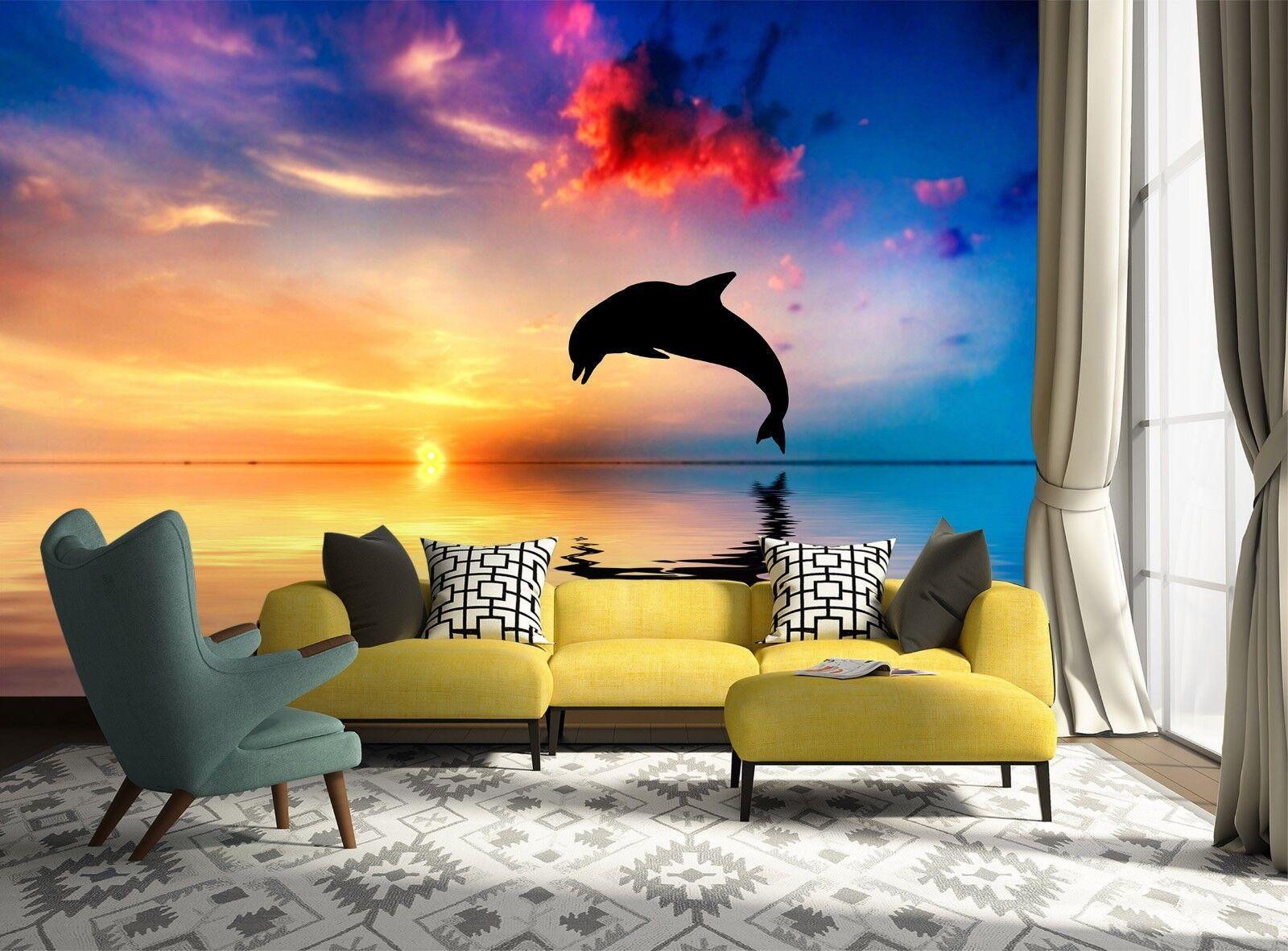3D Dusk Dolphin 7127 Wallpaper Mural Wall Print Wall Wallpaper Murals US Lemon