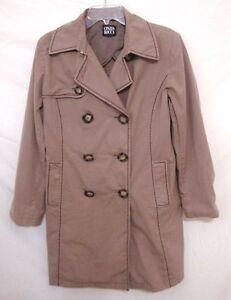 Cinzia-Rocca-Brown-Trench-Coat-Double-Breasted-Topstitch-Rain-Jacket-Size-Medium