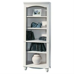 Bookcase-5-Shelf-Bookshelf-Storage-Display-Living-Room-Bedroom-Chic-White-Finish