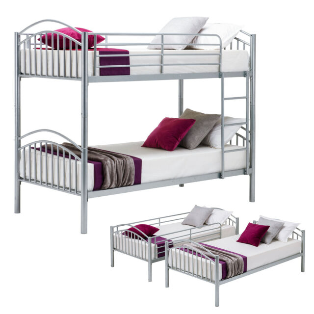 Silver Bunk Bed Frame Convertible Twin Over Twin Metal Frames Bedroom