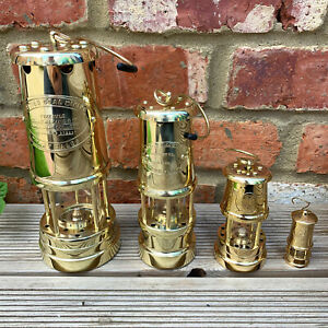 Vintage-Brass-Metal-British-Wales-Coillery-Coal-Miners-Gas-Lighting-Safety-Lamps