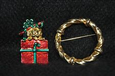 Dog with present Christmas Brooch Pin