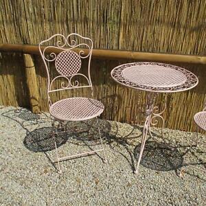 Détails sur Chaise de Jardin Pliante Fer Rose Style Antique Balcon pour  Ensemble Sièges