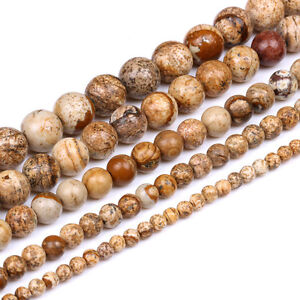 Natural-Picture-Jasper-Gemstone-Stone-Round-Loose-Beads-Finding-Craft-4-6-8-10mm