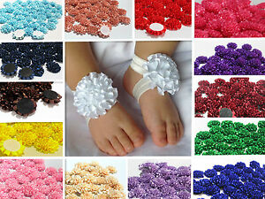 5/30PCS Lot Baby Girls Flower Headband Corsage Ribbon Bow No Clip 23 colors DIY
