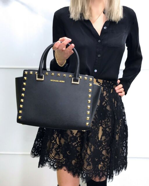 83315dfad1e7 Michael Kors Selma Satchel Stud Medium Saffiano Leather Studded Bag Black