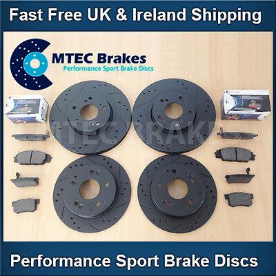 9-3 1.8 1.9 2.0 2.2 01-12 Front Rear Drilled Grooved Black Brake Discs MTEC Pads