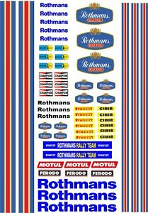 Waterslide Transfers Rothmans Rally Car F1 RC Slotcar 1:10 1:18 1:32 1:72 Scales
