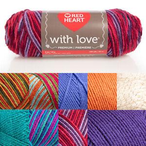 Red-Heart-With-Love-100-Acrylic-Yarn-Knitting-Crochet-Medium-4-Skein-Soft