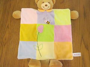 Baby-Bow-patch-bear-comfort-blanket-with-rattle-crinkle-Baby-boy-girl