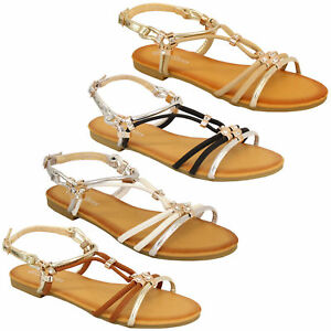 Ladies-Flat-Sandals-Womens-Slip-On-Open-Toe-Buckle-Diamante-Shoes-Fashion-Party