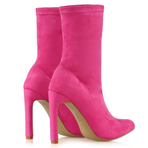 Womens Block High Heel Ankle Boots Ladies Pull On Stretch Sock Booties Shoes 3-8