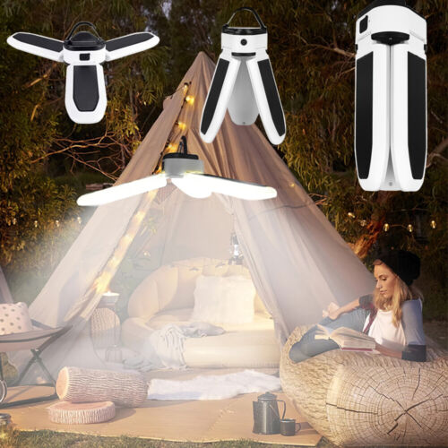 Solar Panel Powered LED Bulb Light Portable Outdoor Camping Tent Energy Lamp 30W