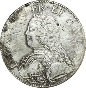 O8426-Ecu-Louis-XV-br-oliviers-1728-A-Paris-2eme-sem-Argent-SUP