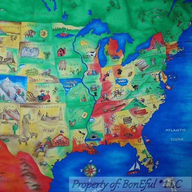 BonEful FABRIC Cotton Quilt Panel Block United States America*n Map World Scenic