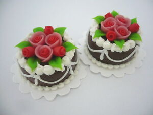 DOLLHOUSE MINIATURE A CHOCOLATE CLAY CAKE RED ROSE TOP FOOD BAKERY SWEET DECO