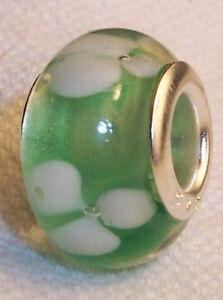 Mint-Green-Clover-Flowers-Lampwork-Glass-Bead-for-Silver-European-Charm-Bracelet