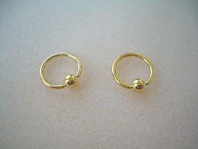 "Pair 14K Gold Plated Captive Bead  Ring 14g  1//2/"" Ear Lip Nipple 4MM Ball"