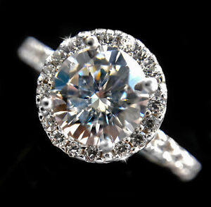 4 ct Round Pendant Russian CZ Imitation Moissanite Simulant 14 kt Gold over SS
