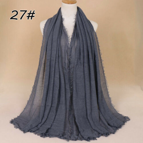 190-100cm Cotton Linen Crinkle Cloud Hijab Scarf Shawl Soft Islam Muslim