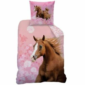 2baaa794cb Das Bild wird geladen Horse-Floral-Pferde-Bettwaesche-Set-rosa-135x200cm- 80x80cm-