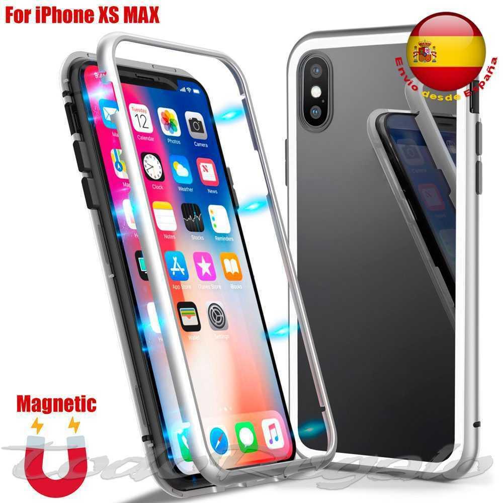 Funda Magnetica Metalica Carcasa de Metal Bumper Iman para iPhone XS Max...
