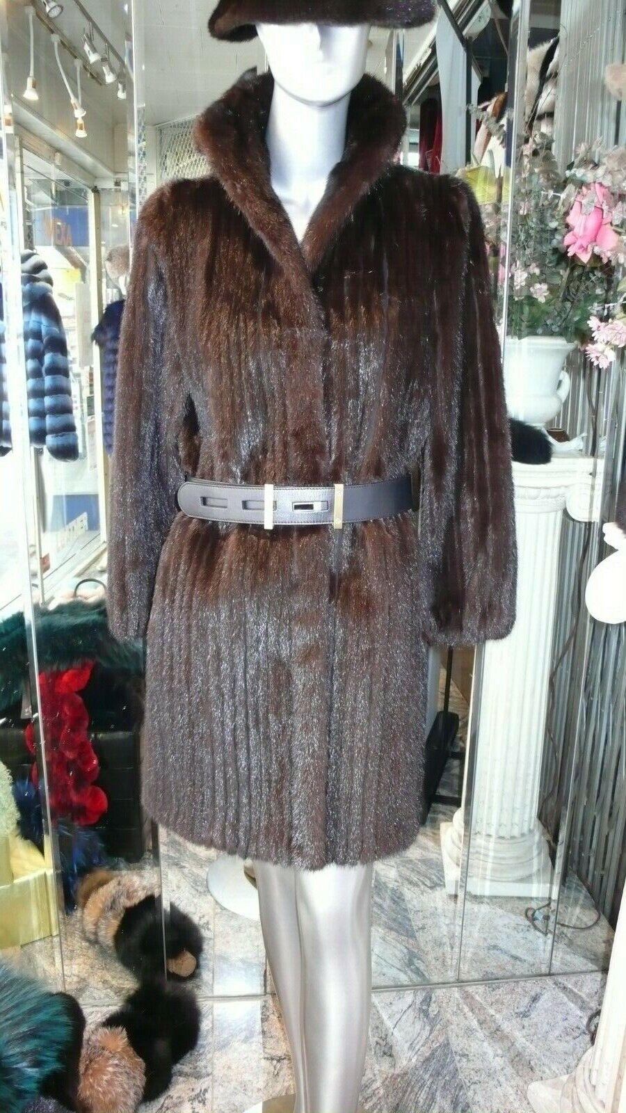Gran valor Caoba de  piel de visón abrigo Abrigado Juvenil Talla 8 Seminuevo DE PIEL DE VISÓN SAGA  alta calidad y envío rápido