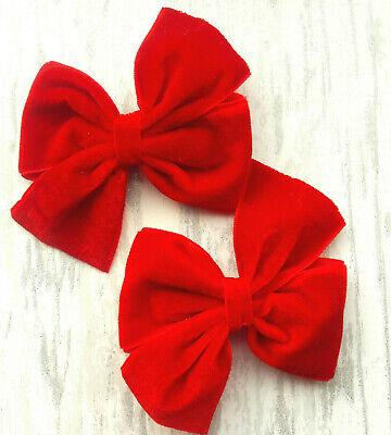 """RED 3/"""" PAIR VELVET HAIR BOWS ALLIGATOR CLIPS GIRLS BABY HAIR BOWS"""