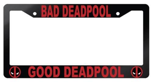 Glossy Black Bad Deadpool Good Deadpool License Frame Auto