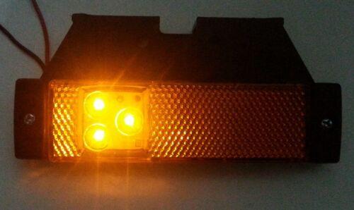 20 ORANGE AMBER MARKER SIDE 3 LED LIGHTS INDICATOR REFLECTOR VAN BUS 12-24 Volts