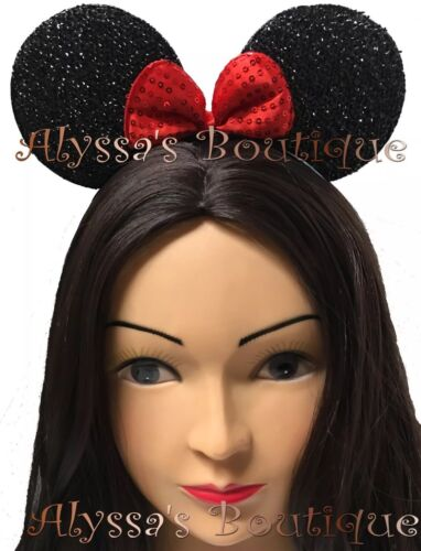 24 Minnie Mouse Ears Headbands Black With Red Bow Party Favors Costume Mickey