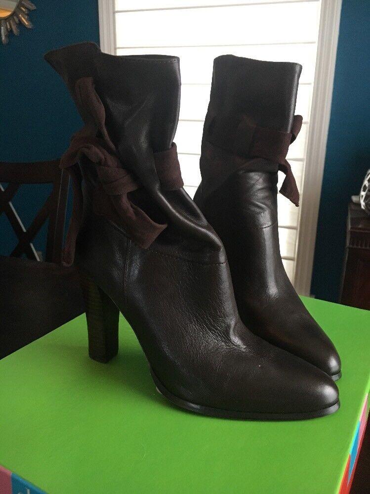 New Charles David Dark Brown Leather Booties Suede Suede Suede Tie Sz 7 88e319
