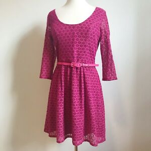 Review-Size-12-Pink-Lace-Lined-Fit-Flare-Dress-Womens-Cocktail-Party-Belt
