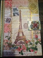 Punch Studio Lined Journal Diary Paris Floral Jeweled Hard Cover 8.5x6