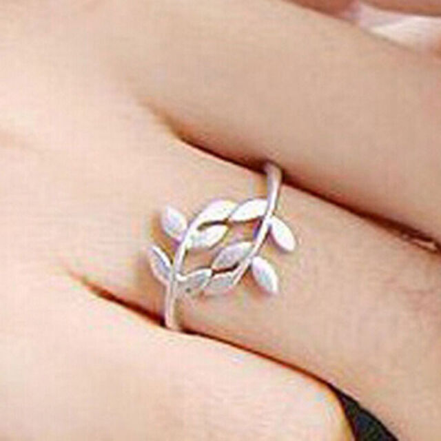 Elegant Silver Plated Leaf Design Brand Ring Hot sell Women Jewelry Gift