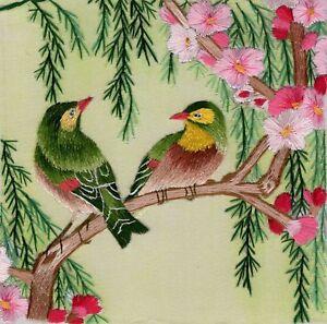 Chinese Silk Embroidery Artwork Handmade Bird Floral China Folk