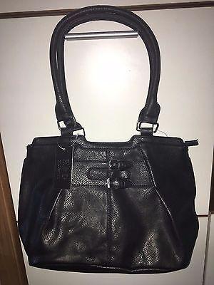 Damen Kunstleder Schultertasche Handtasche Tasche schlicht schwarz groß