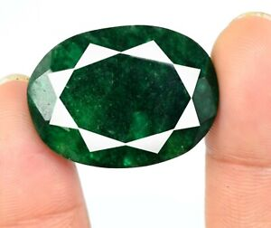 Oval Colombian Green Emerald 43.80 Ct Loose Gemstone Natural AGI Certified V4999