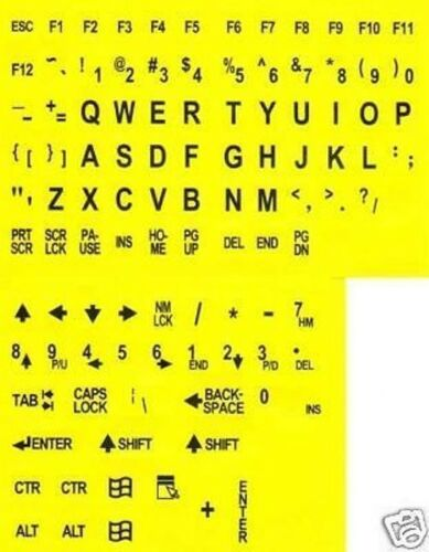Large Print English Keyboard Stickers Black on Yellow