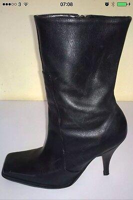 Mitad de Pantorrilla Botas stiletto negro tamaño de Reino Unido 6