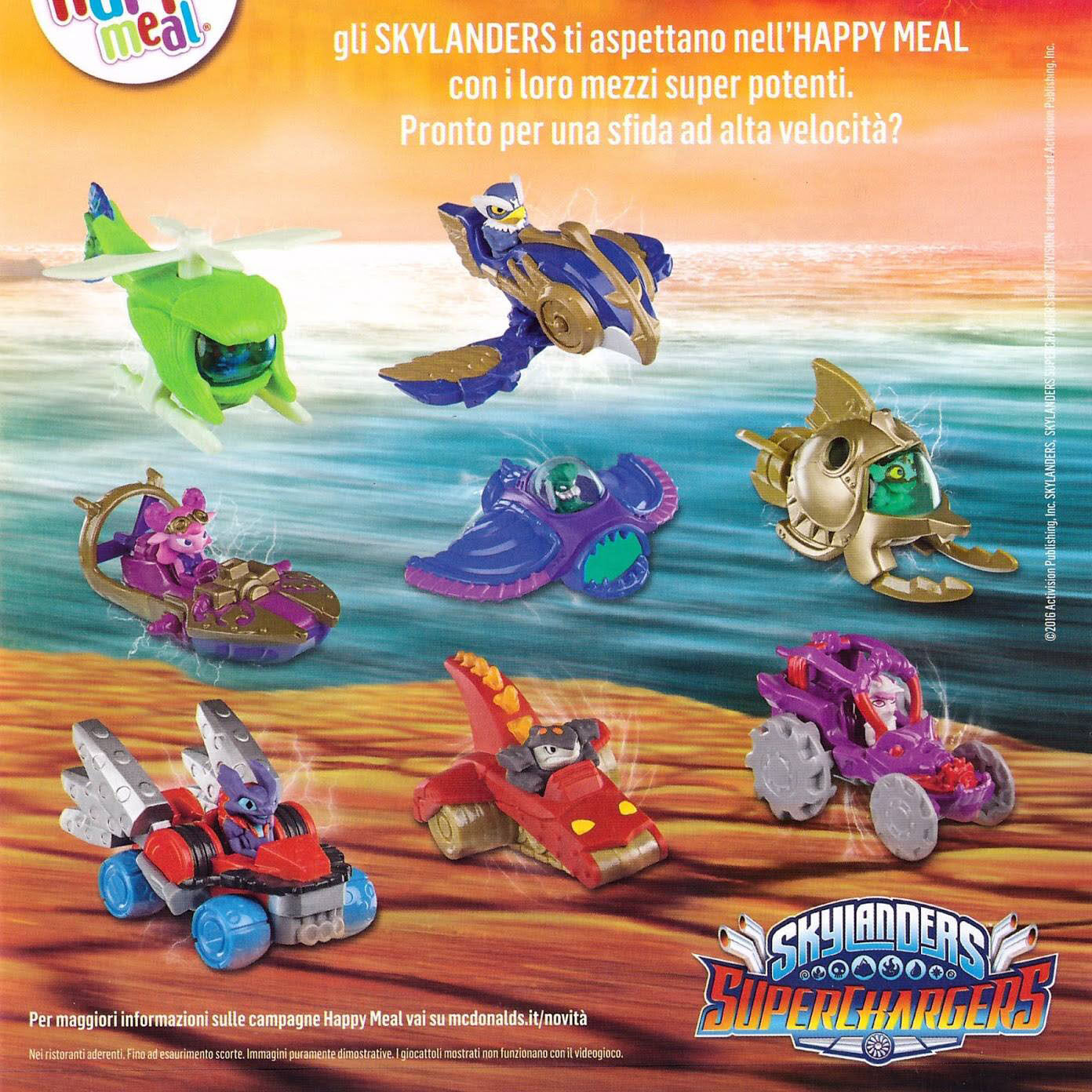 Skylanders Superchargers McDonald's Happy Meal EUROPE 2016 Full Set of 8 Toys
