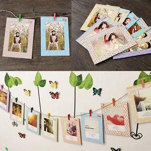 Portafoto Multiplo Fai Da Te.Dettagli Su 8pz 6 Portafoto Da Parete Multiplo Cornice Foto In Carta Decoro Con Clip Corda